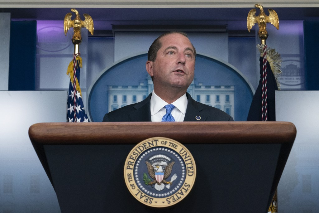 FILE - In this Aug. 23, 2020, file photo, Health and Human Services Secretary Alex Azar speaks during a media briefing in the James Brady Briefing Roo...