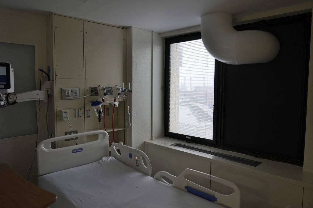 New machinery, such as ventilation to the window to turn the room into an isolation room, is seen at Bellevue Hospital in New York, Wednesday, Oct. 28...