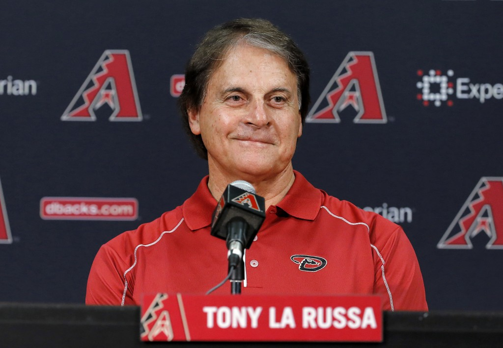FILE - In this May 17, 2014, file photo, Tony La Russa, newly hired as chief baseball officer for the Arizona Diamondbacks, speaks to reporters after ...