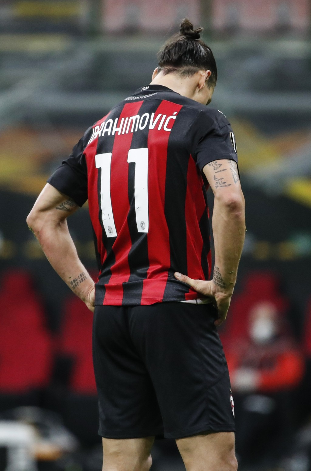 AC Milan's Zlatan Ibrahimovic stands after missing a penalty kick during the Europa League Group H soccer match between AC Milan and Sparta Praha at t...