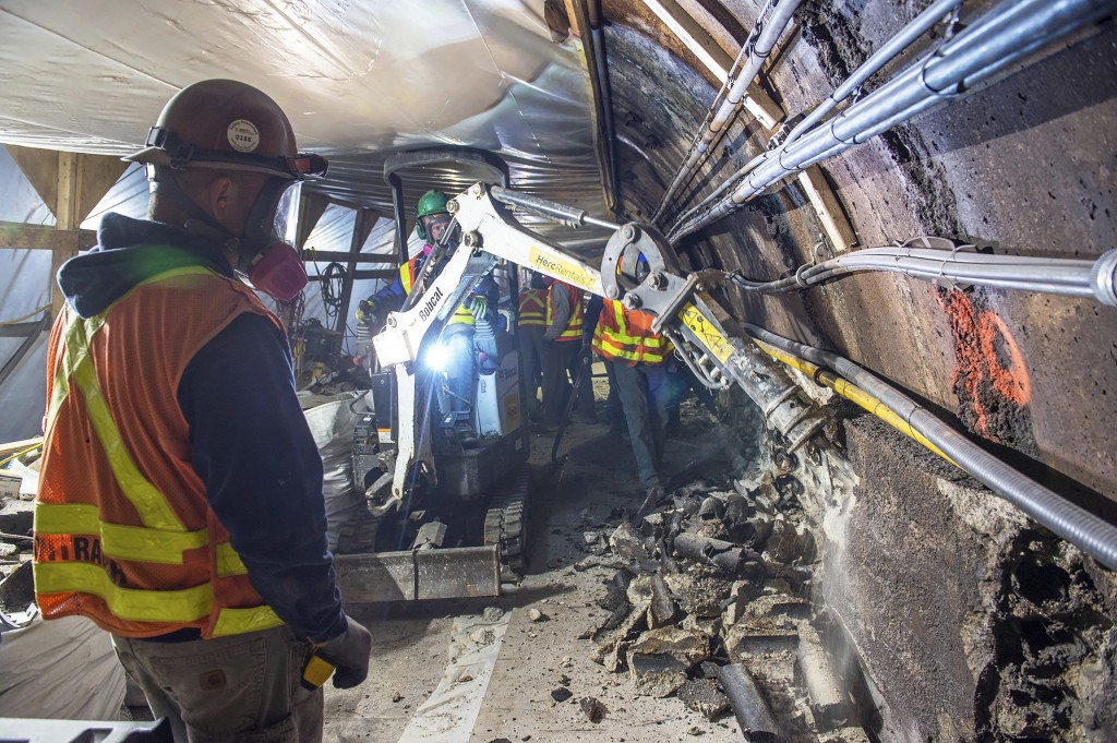 This May 19, 2019 photo provided by the Metropolitan Transportation Authority shows workers during the L Project subway tunnel rehabilitation, in New ...