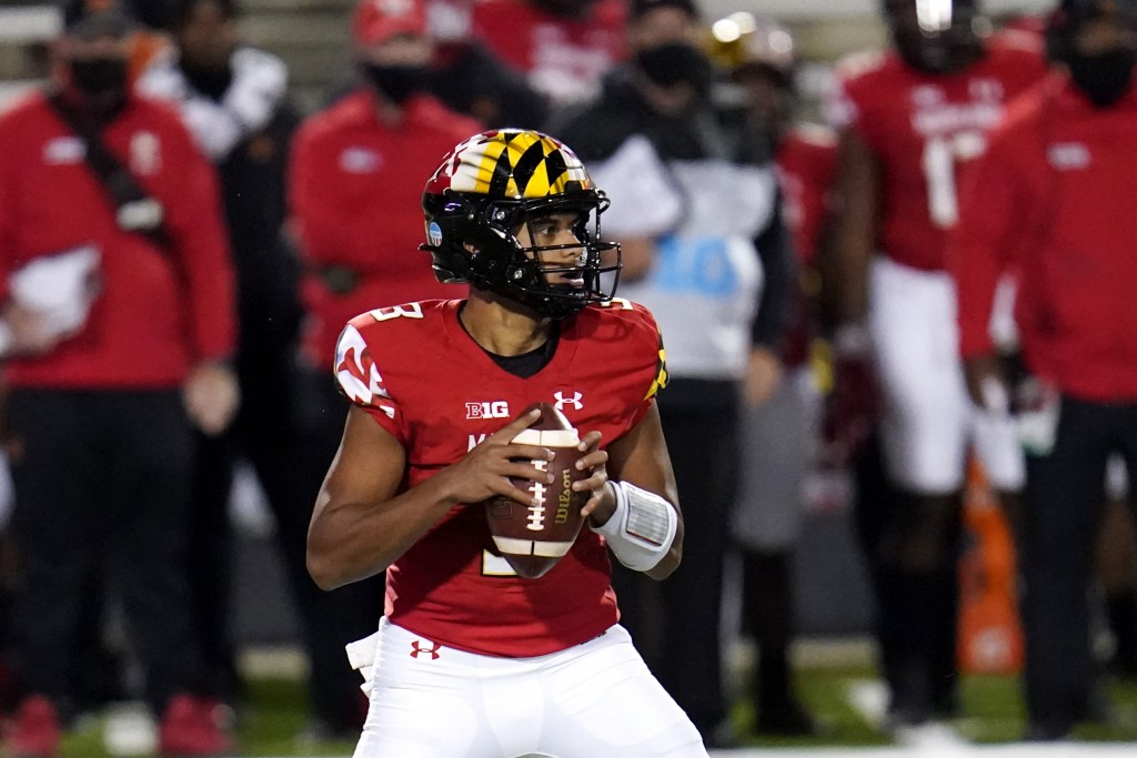 Maryland quarterback Taulia Tagovailoa looks to pass against Minnesota during the first half of an NCAA college football game, Friday, Oct. 30, 2020, ...