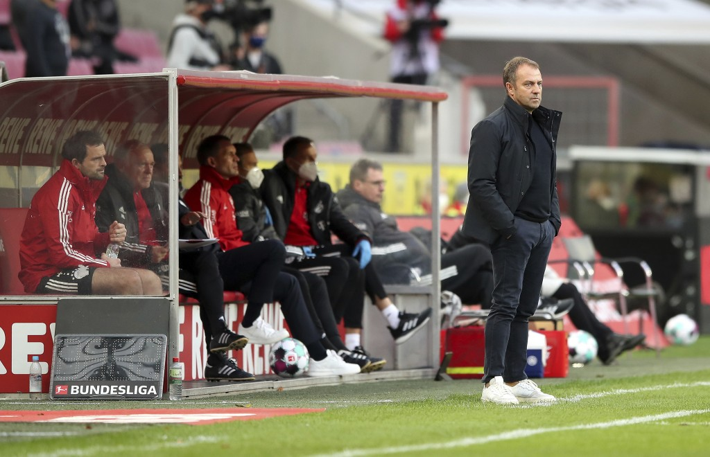 Hans-Dieter Flick, Head Coach of Bayern Munich stands at the sidelines during the German Bundesliga soccer match between 1. FC Cologne and FC Bayern M...