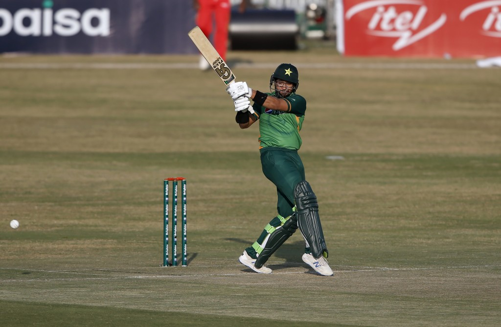 Pakistani batsman Imam-ul-Haq plays a shot during the 2nd one-day international cricket match against Zimbabwe at the Pindi Cricket Stadium, in Rawalp...