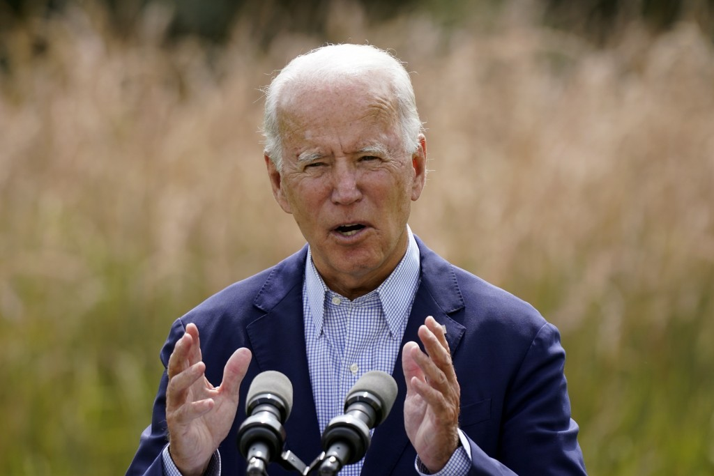 FILE - In this Sept. 14, 2020 file photo, Democratic presidential candidate and former Vice President Joe Biden speaks about climate change and wildfi...