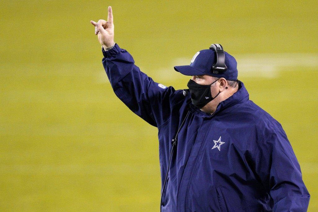 Dallas Cowboys head coach Mike McCarthy directs his team during the first half of an NFL football game against the Philadelphia Eagles, Sunday, Nov. 1...