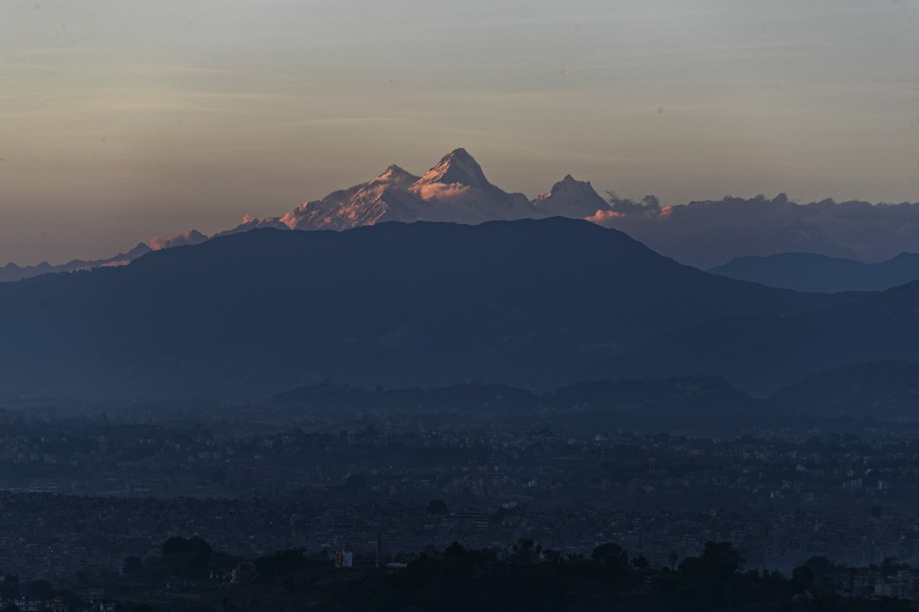 Himalchuli mountain, center and the Manasulu Mountain range, right is seen from Bhaktapur, Nepal  Saturday, Oct 31, 2020. Nepal has reopened its peaks...
