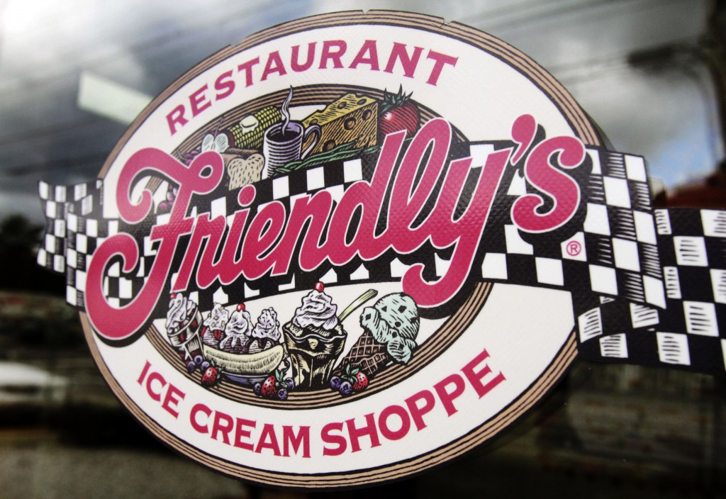 FILE - This Oct. 5, 2011 file photo shows a sign displayed on the door at Friendly's restaurant in Brunswick, Maine. Friendly's Restaurant, an East Co...