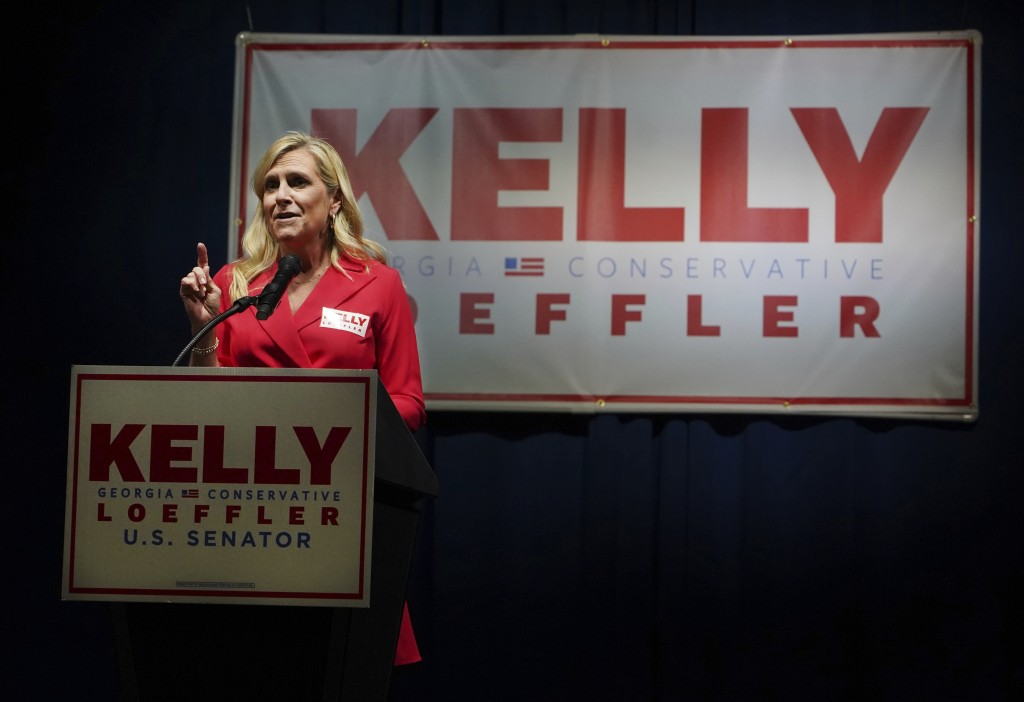 The wife of Georgia Governor Marty Kemp speaks in lieu of Governor Brian Kemp who is under quarantine for coronavirus at an election night watch party...