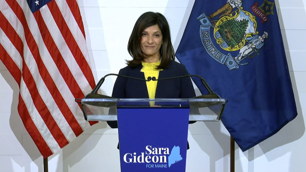 In this still image from video released via YouTube by the Sara Gideon for Maine campaign, Democrat candidate for U.S. Senate, Maine House speaker Sar...