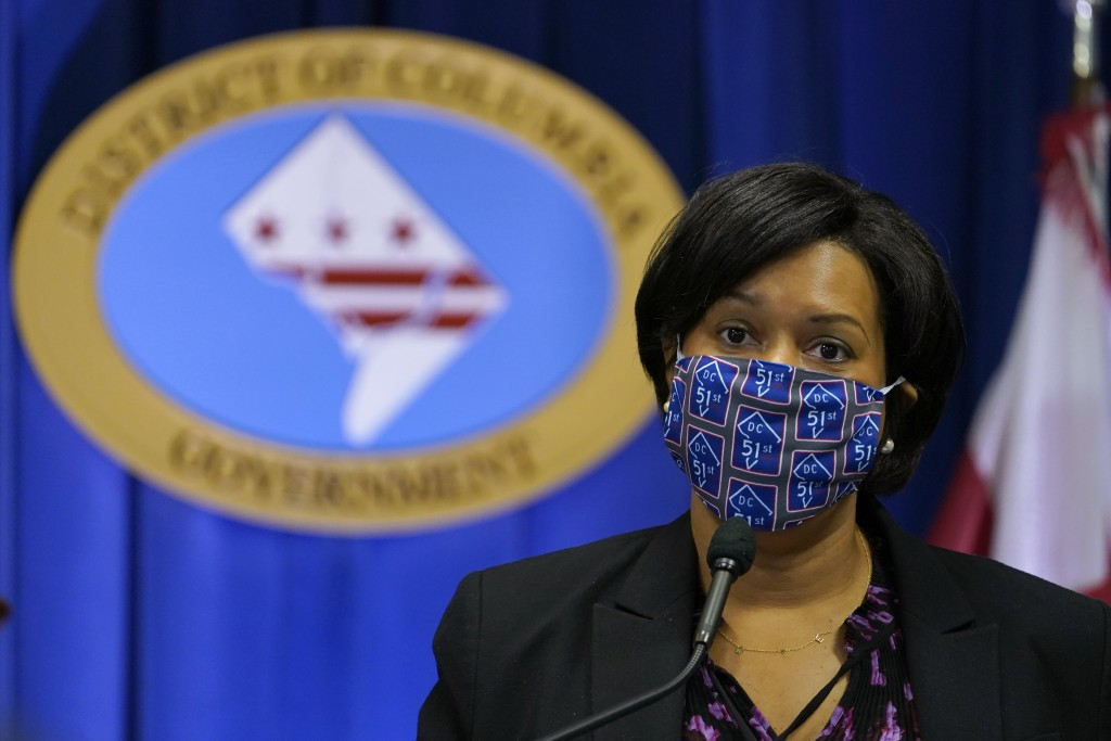 District of Columbia Mayor Muriel Bowser speaks during a news conference in Washington, Wednesday, Nov. 4, 2020. (AP Photo/Susan Walsh)