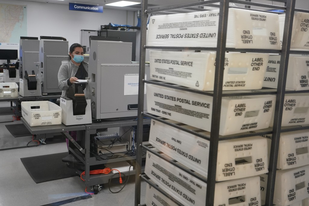 In this Nov. 3, 2020, photo, a worker scans and tabulate ballots at the Miami-Dade County Elections Department in Doral, Fla. As election postmortems ...