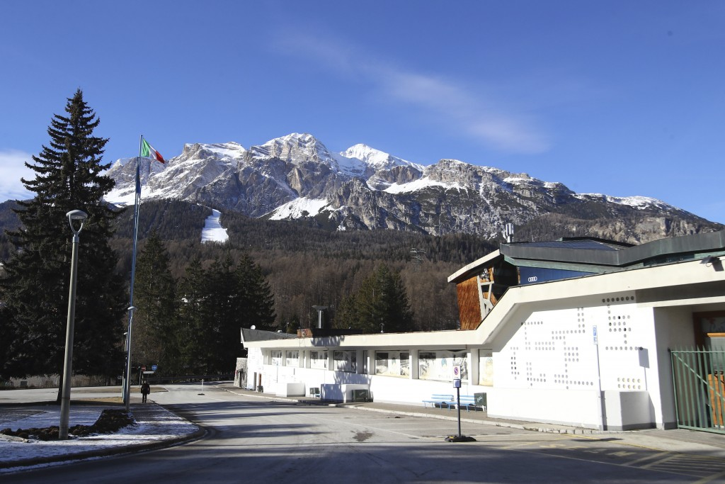 A view of the Palazzo del Ghiaccio (Ice Palace) in Cortina D'Ampezzo, northern Italy, Wednesday, Jan. 16, 2019. A wide swath of northern Italy will be...
