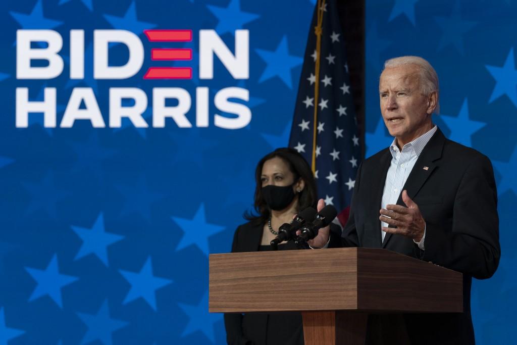 Democratic presidential candidate former Vice President Joe Biden joined by Democratic vice presidential candidate Sen. Kamala Harris, D-Calif., speak...