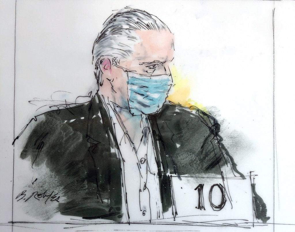 FILE- In this Oct 16, 2020 courtroom drawing, former Mexican defense secretary Gen. Salvador Cienfuegos appears in federal court in Los Angeles. Cienf...