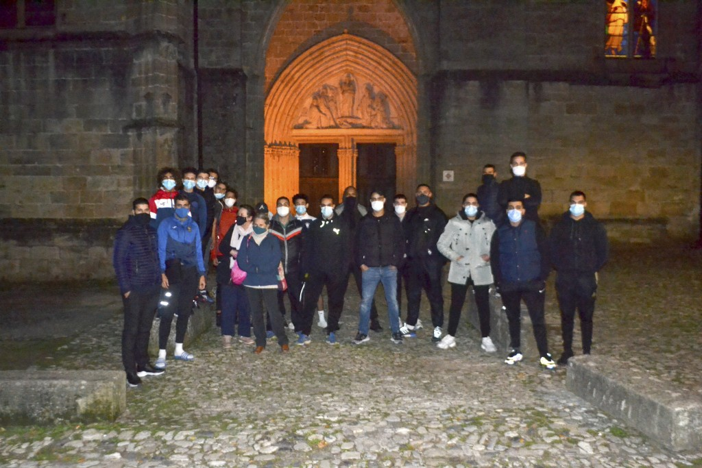 This photo take on Oct. 29, 2020 shows a group of Muslim volunteers protecting the Saint-Fulcran cathedral In Lodeve, southern France. A group of Fren...