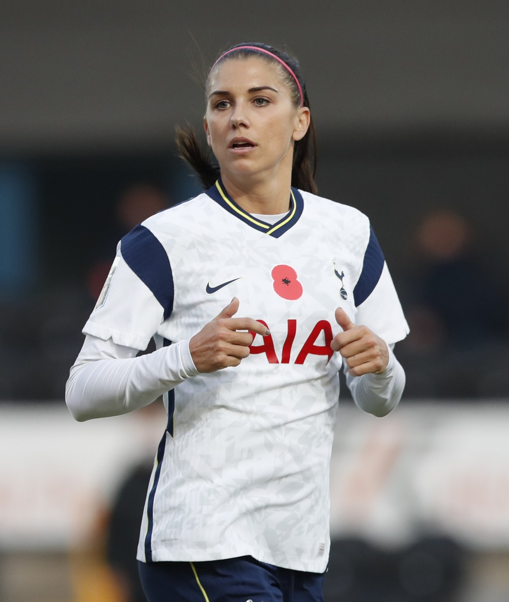 Tottenham Hotspur's Alex Morgan comes on as a substitute during the English Women's Super League soccer match between Tottenham Hotspur and Reading at...