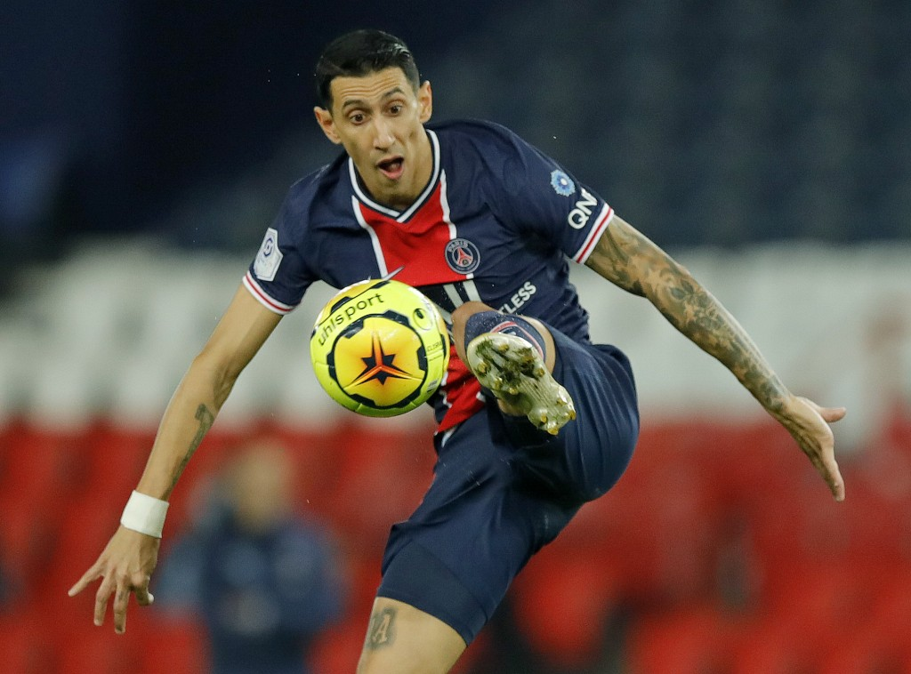 PSG's Angel Di Maria controls the ball during the French League One soccer match between Paris Saint-Germain and Rennes at the Parc des Princes in Par...