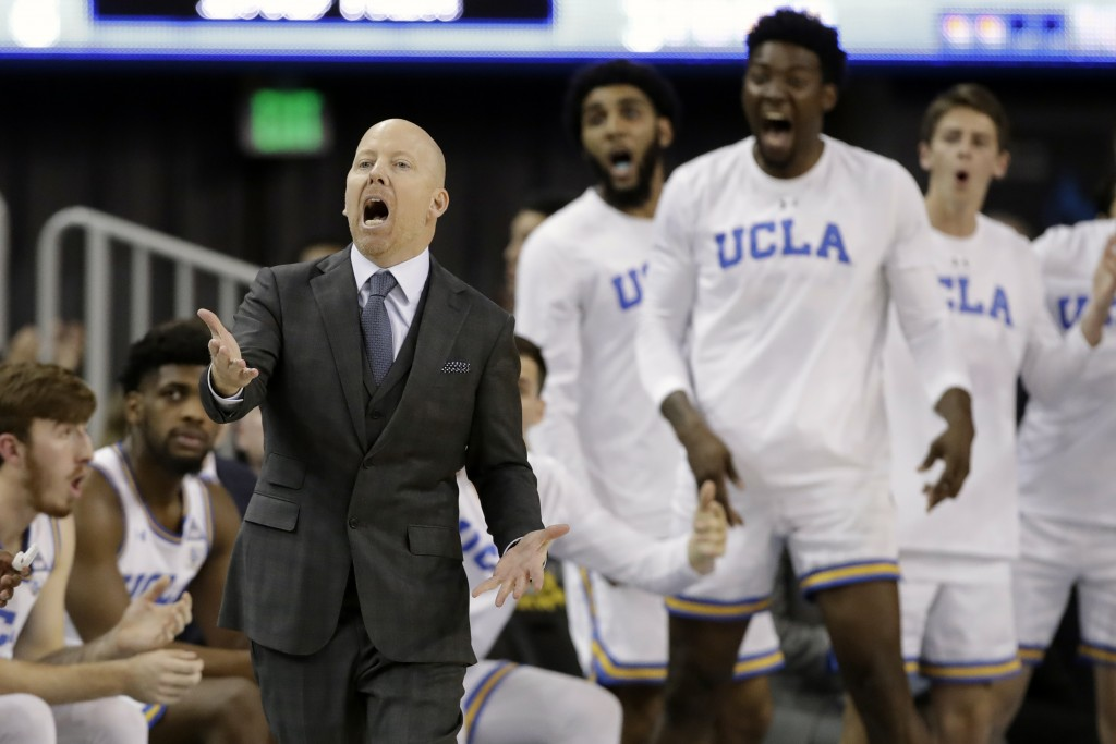 FILE - In this Thursday, Feb. 13, 2020, file photo, UCLA coach Mick Cronin argues a call during the second half of the team's NCAA college basketball ...