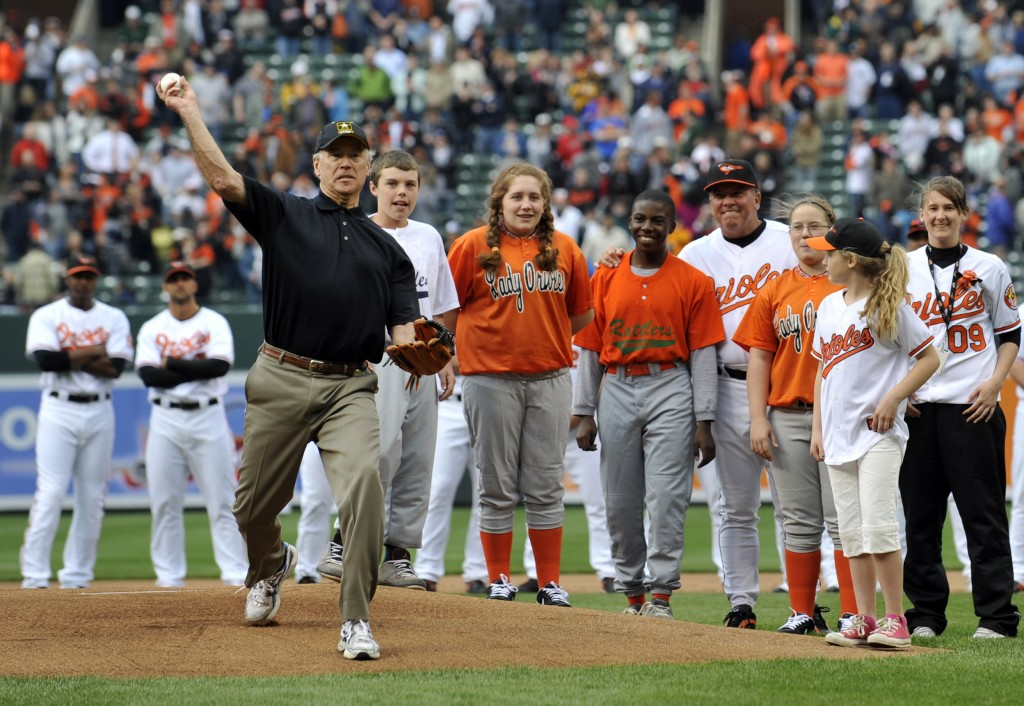 FILE - In this April 6, 2009, file photo, Vice President Joe Biden throws out the first pitch prior to the Baltimore Orioles and the New York Yankees ...