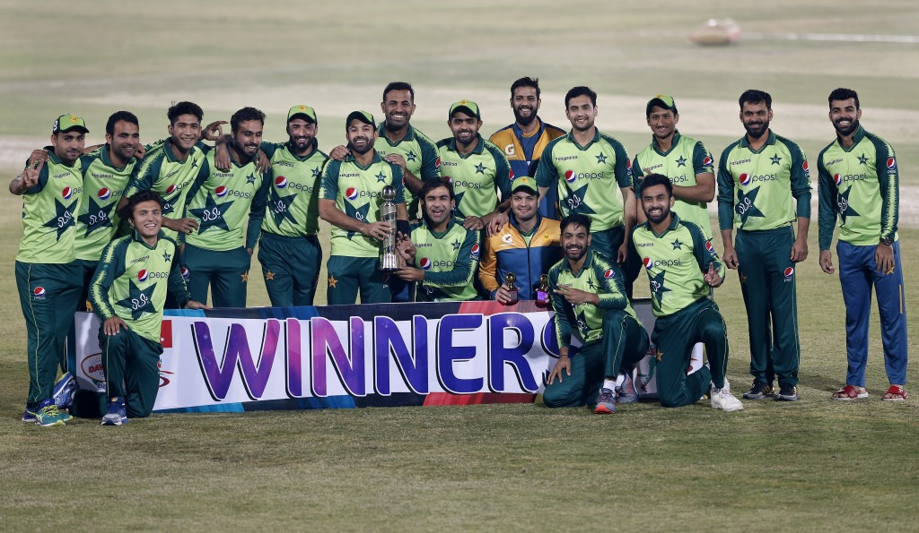 The Pakistani cricket team poses with the winners trophy of the Twenty20 series at a ceremony after the 3rd Twenty20 cricket match against Zimbabwe at...