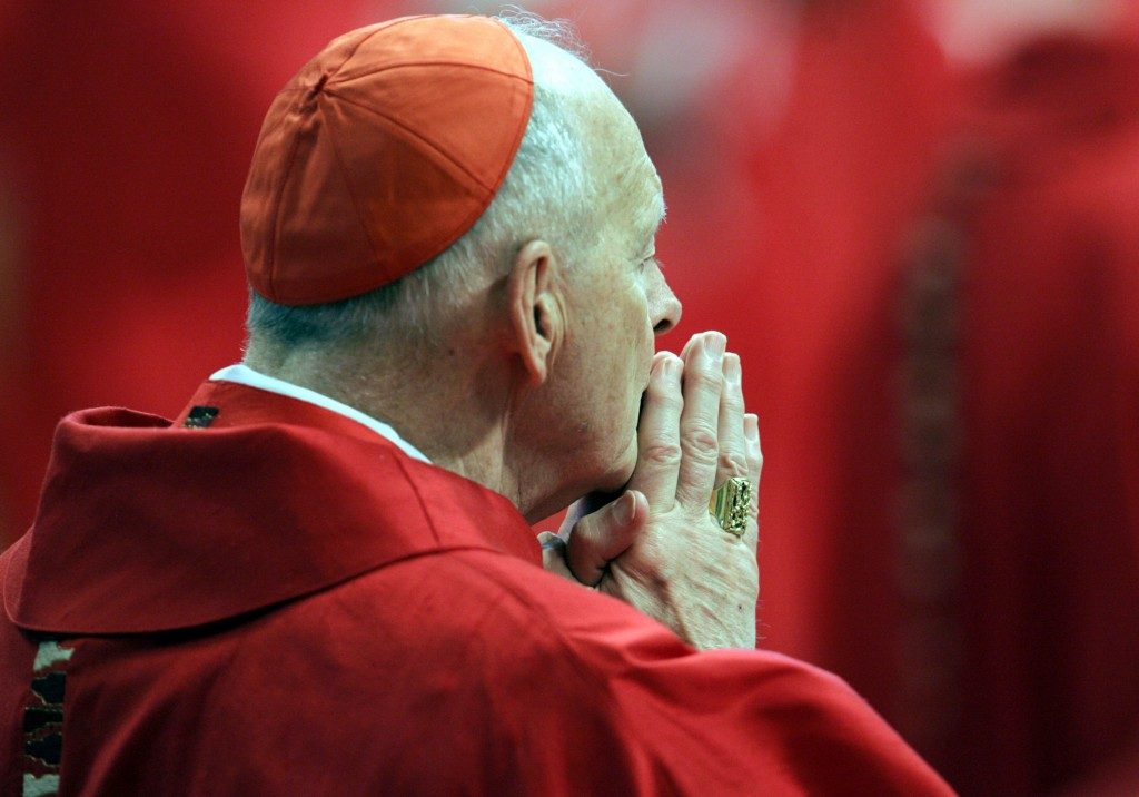FILE - In this April 18, 2005 file photo, U.S. Cardinal Theodore Edgar McCarrick attends a Mass in St. Peter's Basilica at the Vatican, as the cardina...
