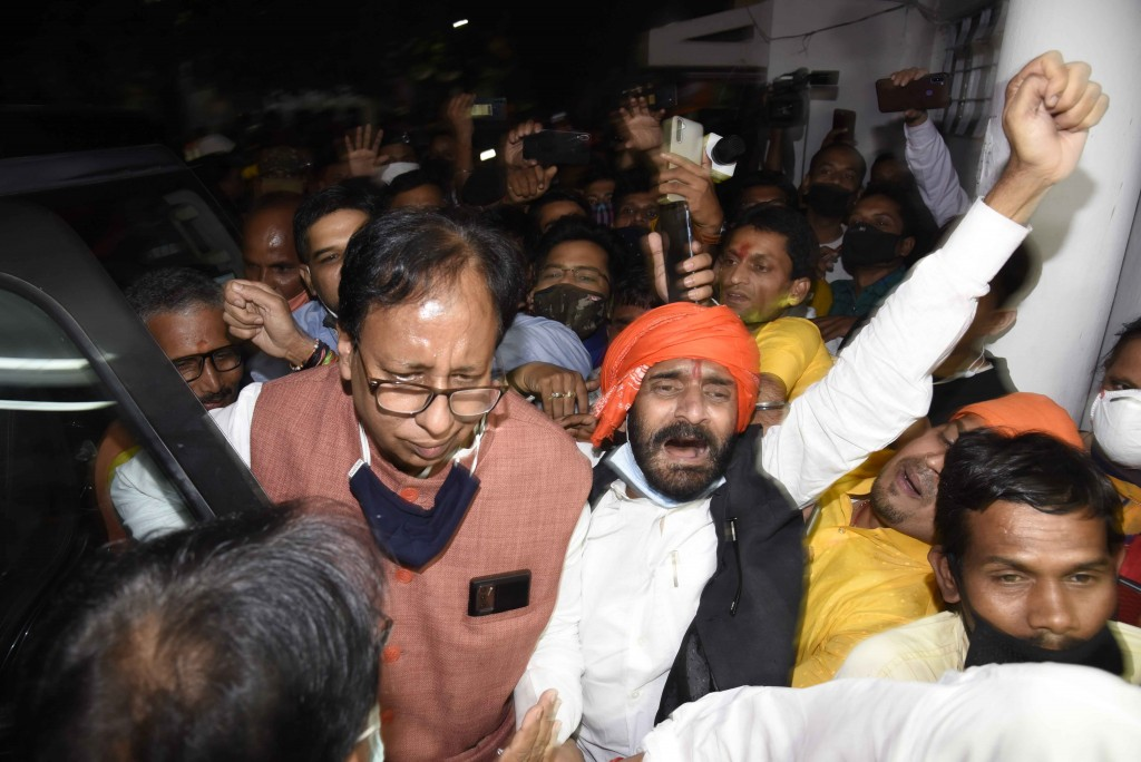 Bharatiya Janata Party (BJP) Bihar state President Sanjay Jaiswal arrives at the party headquarters after NDA's lead during the counting of votes ofth...