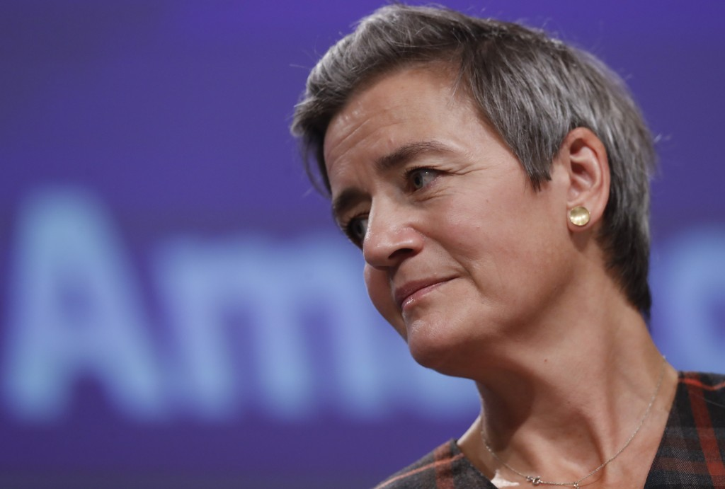 European Executive Vice-President Margrethe Vestager speaks during a press conference regarding an antitrust case with Amazon at EU headquarters in Br...