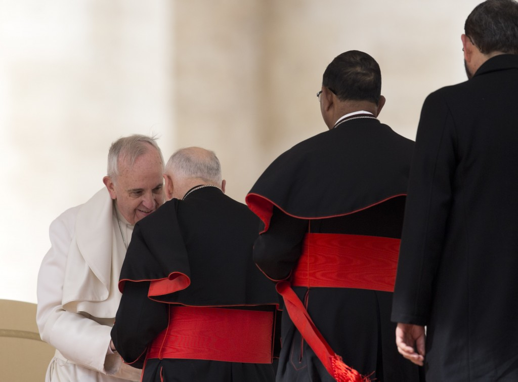 FILE - In this Feb. 19, 2014 file photo, Pope Francis greets U.S. Cardinal Theodore Edgar McCarrick in St. Peter's Square at the Vatican, at the end o...