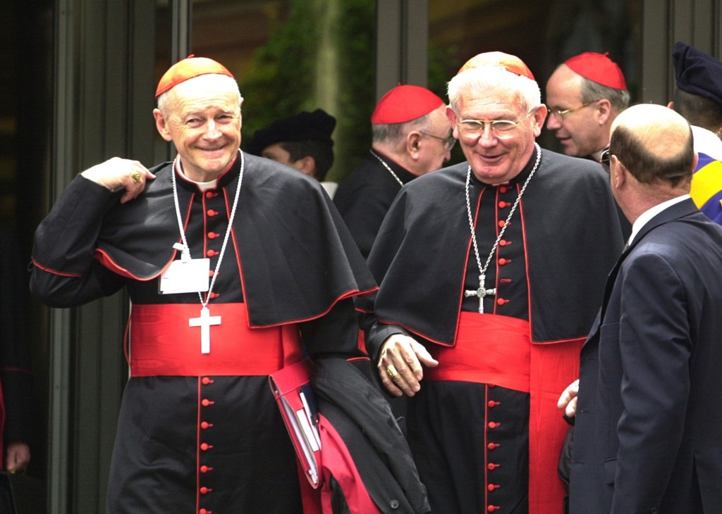 FILE - In this May 21, 2001 file photo, Cardinals William Henry Keeler, left, Archbishop of Baltimore, Md., and Theodore Edgar McCarrick, Archbishop o...