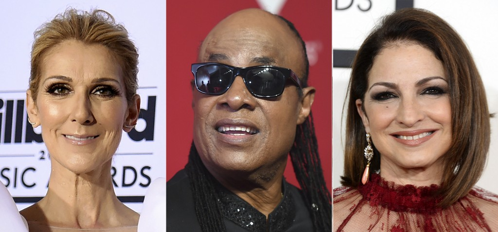 This combination photo shows performers, from left, Celine Dion, Stevie Wonder and Gloria Estefan, who are among the entertainers honoring nurses in a...
