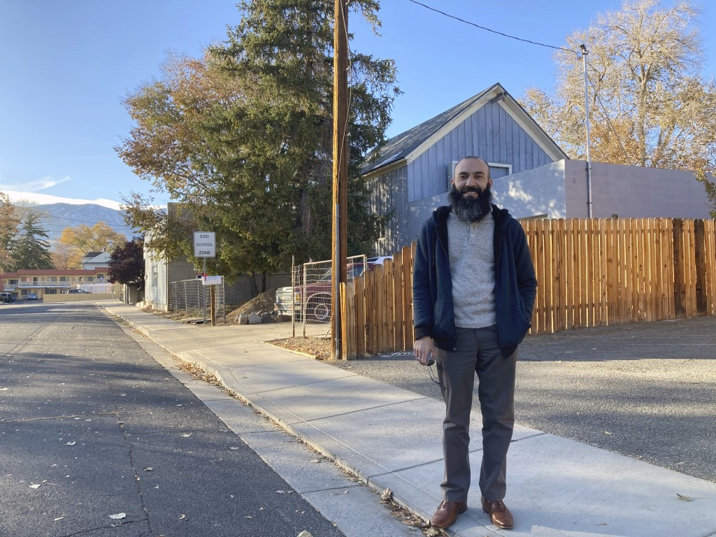 Daniel Echebarria, a 39-year-old supporter of President Donald Trump, poses for a picture in Carson City, Nev., where he works as a teacher. Echebarri...