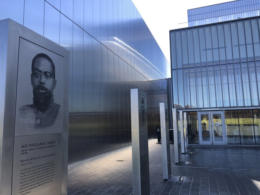 A marker commemorating the service of Sgt. William Carney, a former slave who served in the 54th Massachusetts Colored Infantry Regiment and became th...