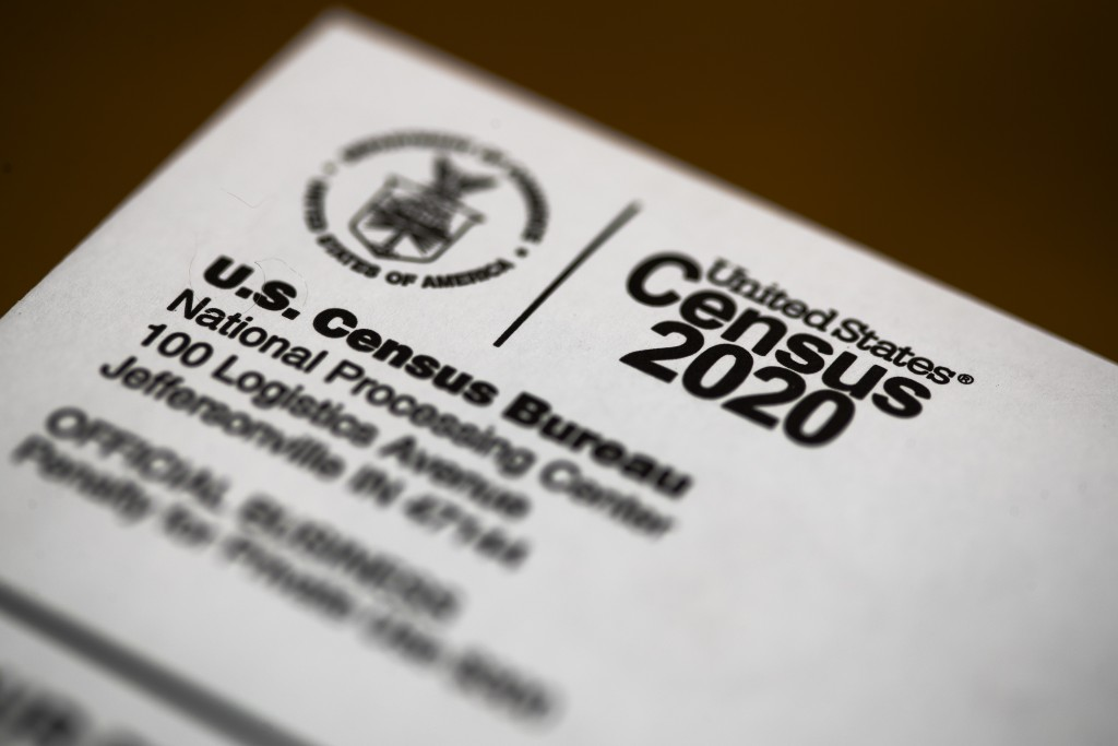 FILE - This March 19, 2020, file photo, shows an envelope containing a 2020 census letter mailed to a U.S. resident. The U.S. Census Bureau has denied...