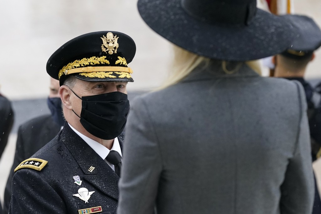 Joint Chiefs Chairman Gen. Mark Milley speaks with Ivanka Trump, the daughter of President Donald Trump, before a Veterans Day wreath laying ceremony ...