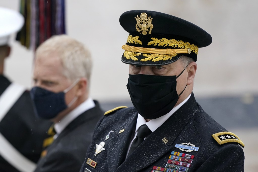 Joint Chiefs Chairman Gen. Mark Milley attends a Veterans Day wreath laying ceremony led by President Donald Trump at the Tomb of the Unknown Soldier ...