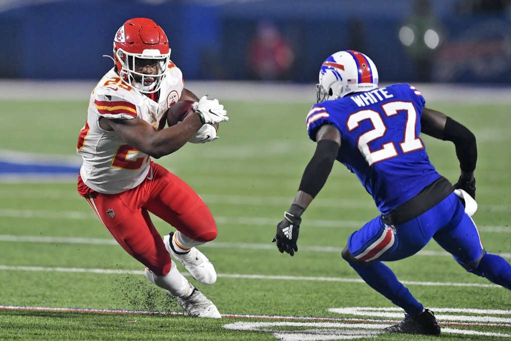 FILE - In this Monday, Oct. 19, 2020, file photo, Kansas City Chiefs running back Clyde Edwards-Helaire (25) runs the ball as Buffalo Bills cornerback...