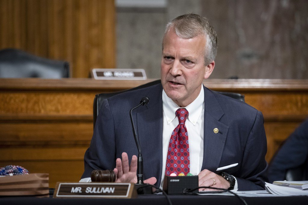 FILE - In this May 7, 2020, file photo, Sen. Dan Sullivan, R-Alaska, testifies during a hearing on Capitol Hill in Washington. Republican U.S. Sen. Da...