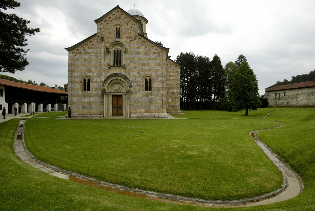 FILE - This May 11, 2006 file photo shows the Serb Orthodox Monastery of Visoki Decani in western Kosovo. Italian mediation on Thursday Nov. 12, 2020,...