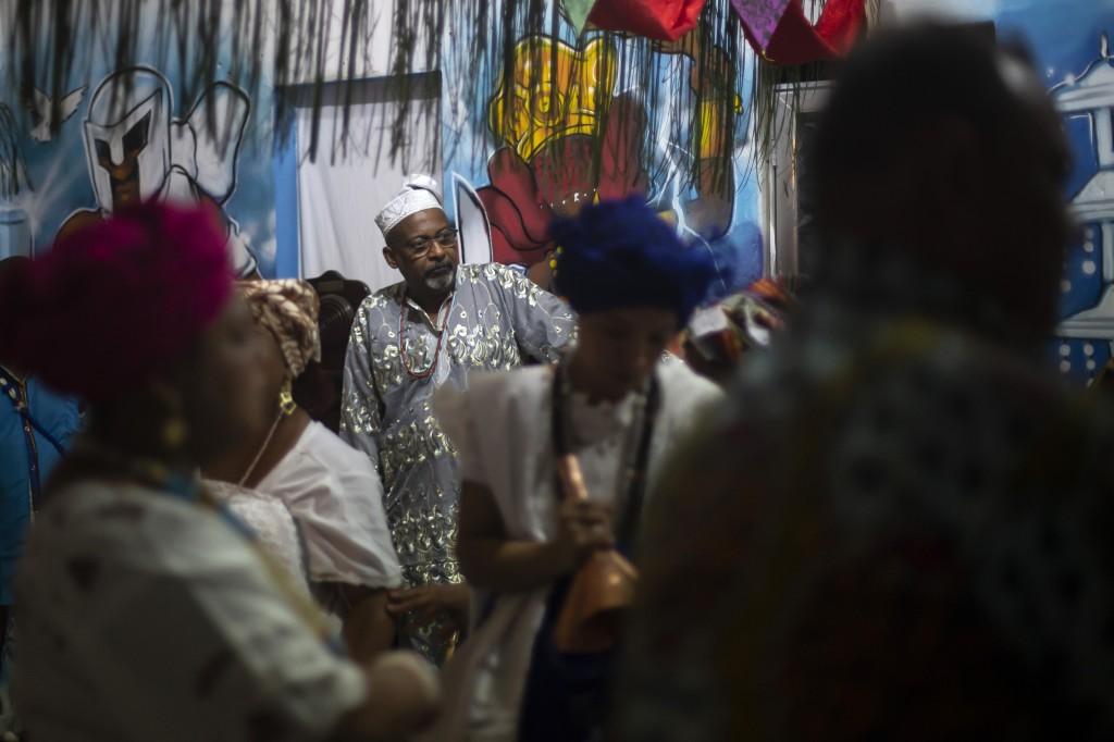 Marcelo Monteiro attends a religious Candomble ritual ceremony at the Ile Ase Yoba temple in Seropedica, Rio de Janeiro state, Brazil, Saturday, Oct. ...
