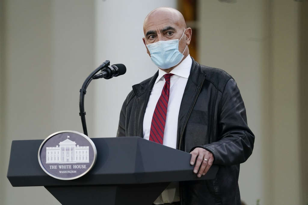 Dr. Moncef Slaoui, chief adviser to Operation Warp Speed, speaks in the Rose Garden of the White House, Friday, Nov. 13, 2020, in Washington. (AP Phot...