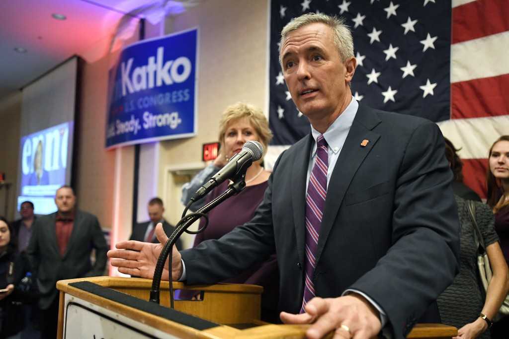 FILE - This Tuesday Nov. 6, 2018 file photo shows Rep. John Katko, R-N.Y., as he thanks his supporters at the Onondaga County GOP Election Night Celeb...