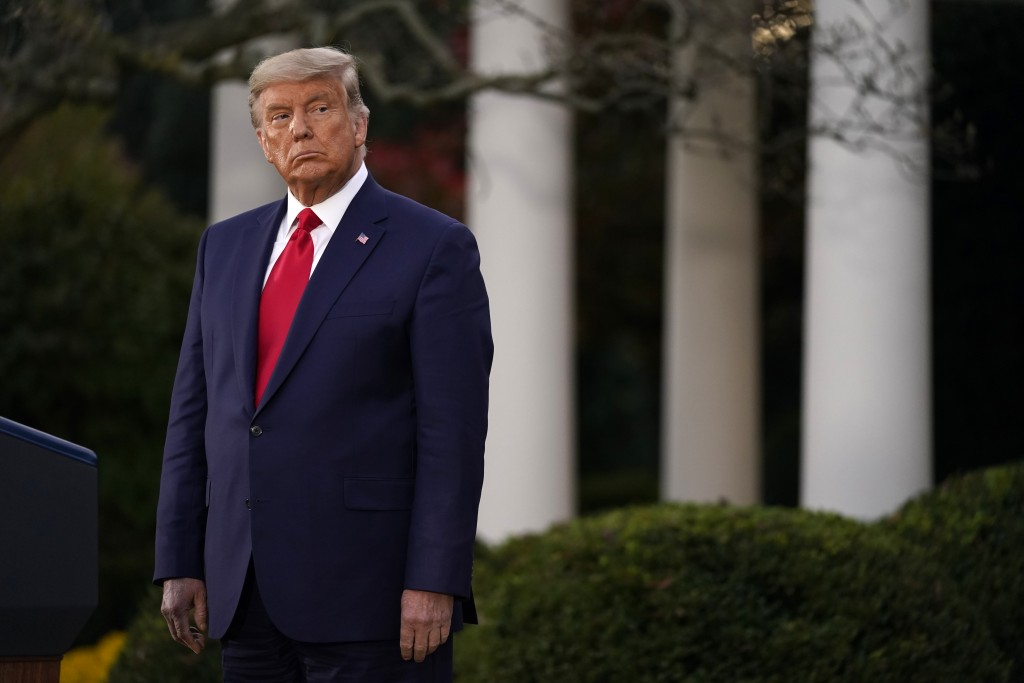 President Donald Trump listens during an event on Operation Warp Speed in the Rose Garden of the White House, Friday, Nov. 13, 2020, in Washington. (A...