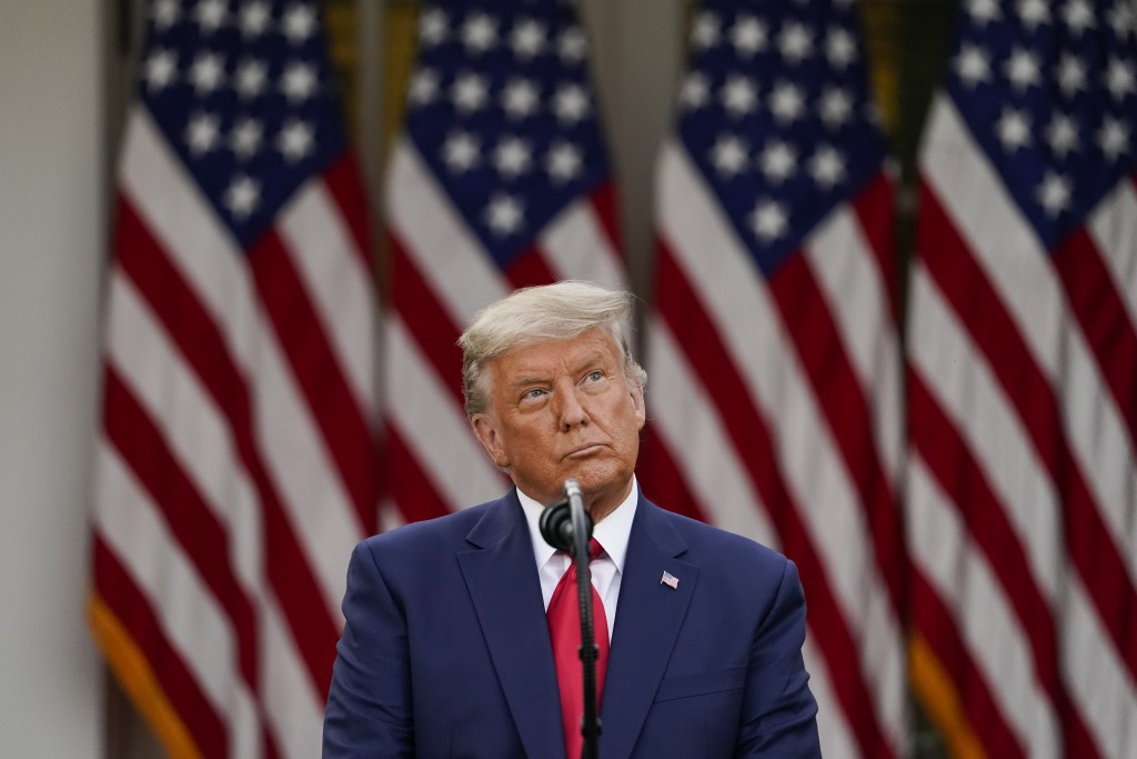 FILE - In this Nov. 13, 2020, file photo President Donald Trump speaks in the Rose Garden of the White House in Washington. (AP Photo/Evan Vucci, File...