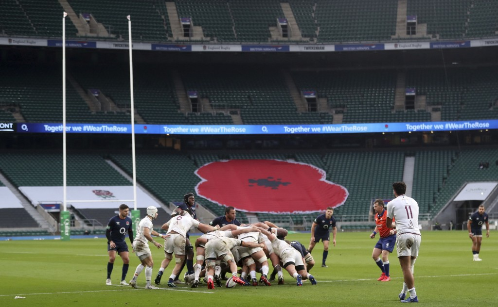 A view of England and Georgia players, during a scrum, during the Autumn Nations Cup rugby uinion match between England and Georgia,  at Twickenham, s...