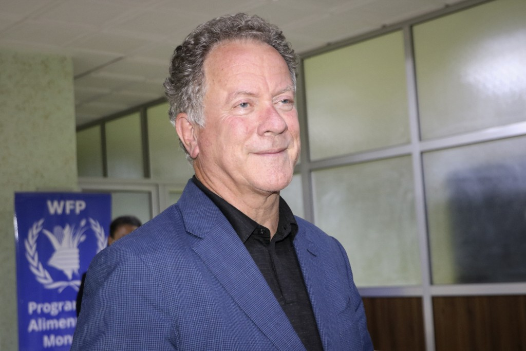 FILE - World Food Program (WFP) Executive Director David Beasley speaks to the media about the organization's Nobel Peace Prize win, at the airport in...