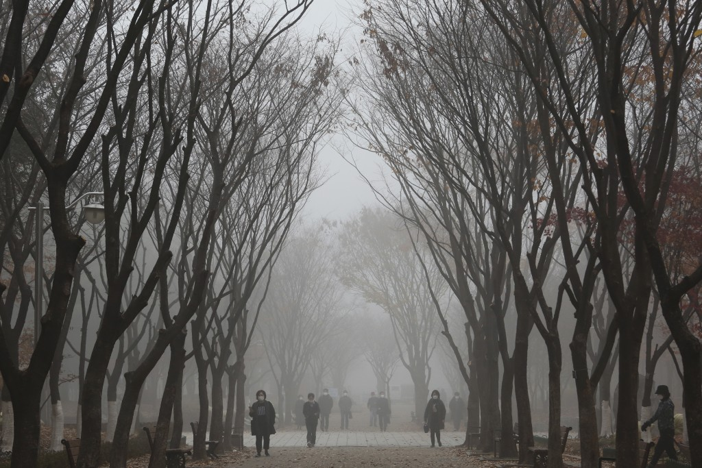 People wearing face masks to help protect against the spread of the coronavirus walk on a street covered in a fog in Goyang, South Korea, Monday, Nov....