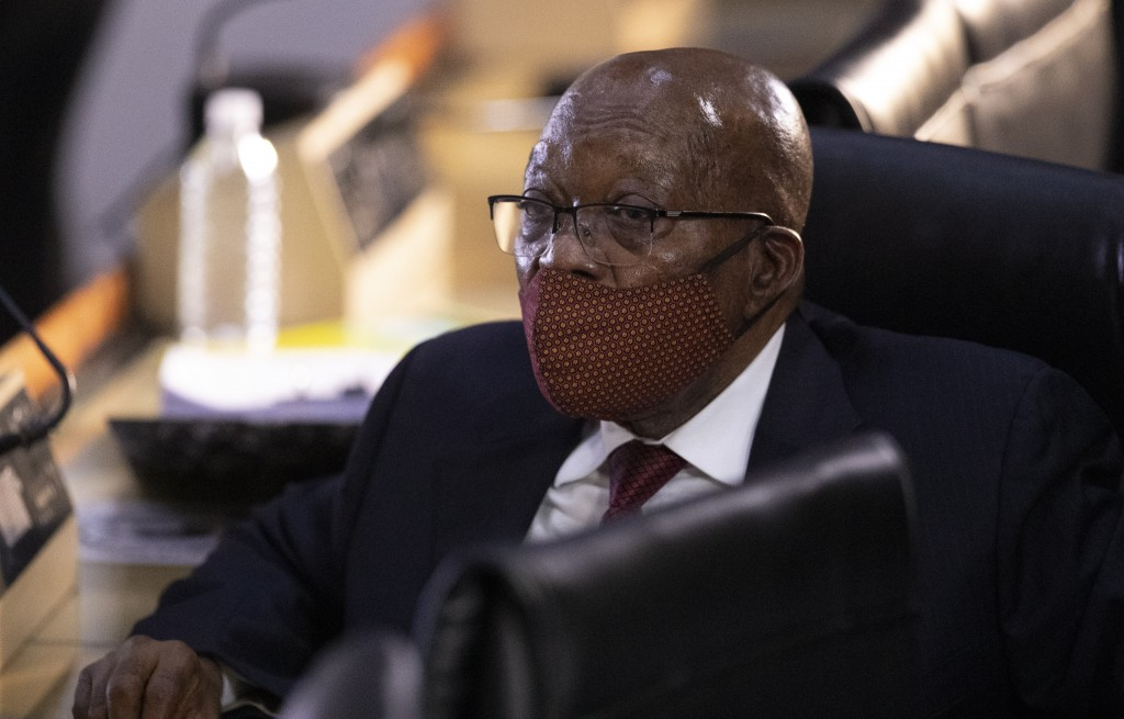 Former South African President Jacob Zuma appears at the hearing for his application for Deputy Chief Justice Raymond Zondo, to recuse himself from th...