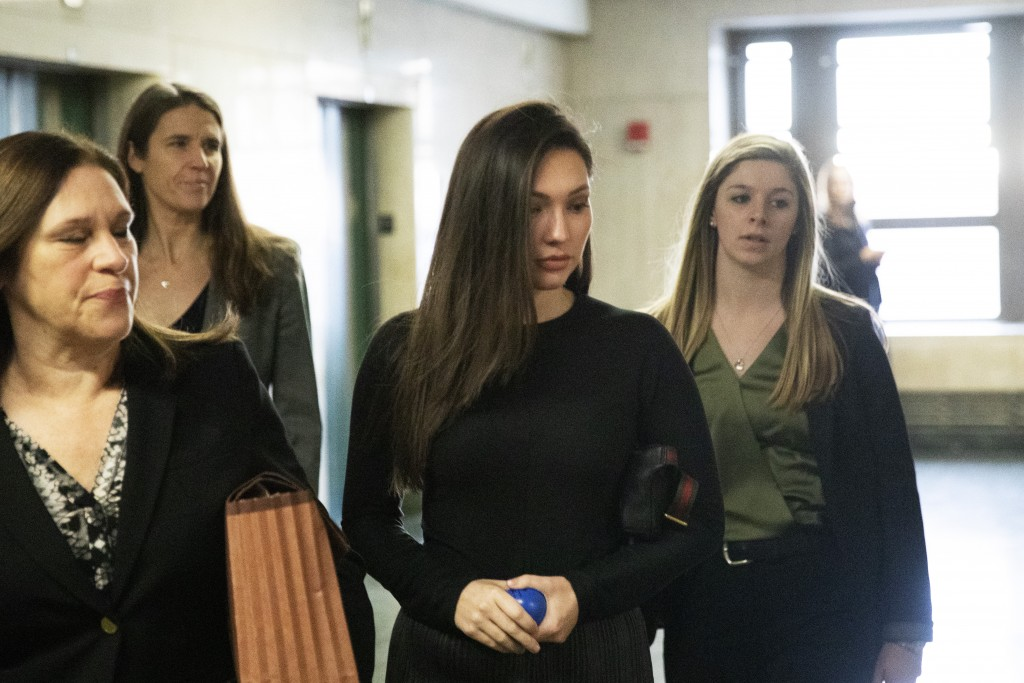 Actress Jessica Mann, second from right, arrives to testify in Harvey Weinstein's rape and sexual assault trial, Friday, Jan. 31, 2020, in New York.  ...