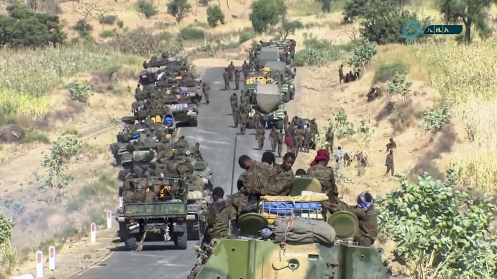 This image made from undated video released by the state-owned Ethiopian News Agency on Monday, Nov. 16, 2020 shows Ethiopian military gathered on a r...